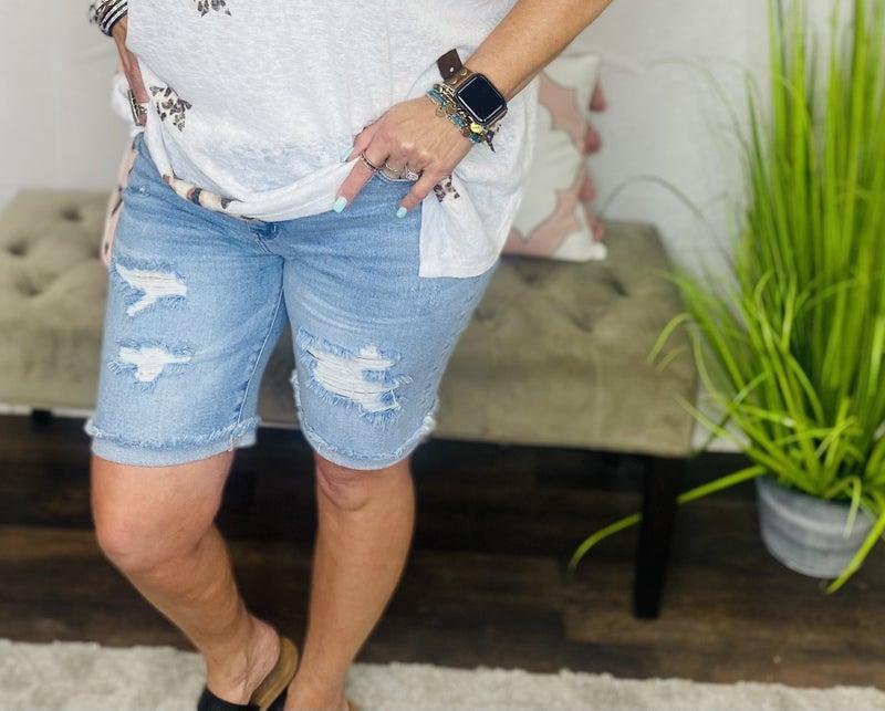 Destroyed Judy Blue Bermuda Shorts