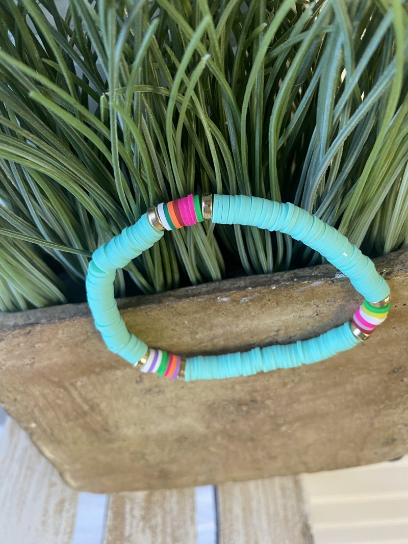 Beach please rubber disc stretch bracelet