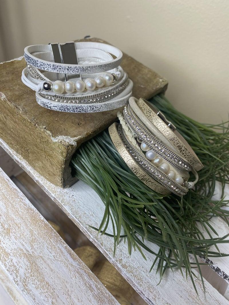 Brushed and gilded  8 strand magnetic bracelet