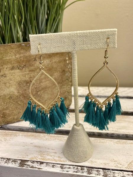 Fringe and gold tassel earrings