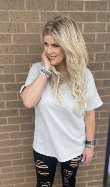 Gray detailed Tee by Sew In love