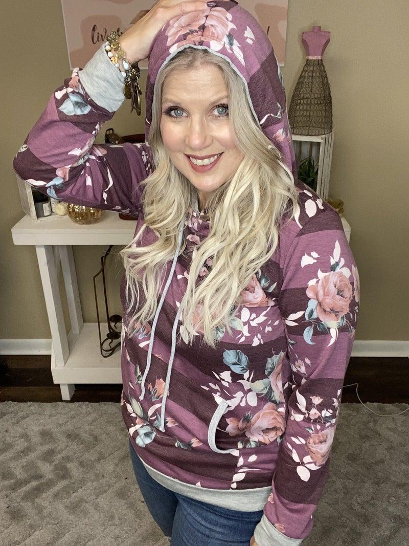 Plum floral hoodie *Final Sale*