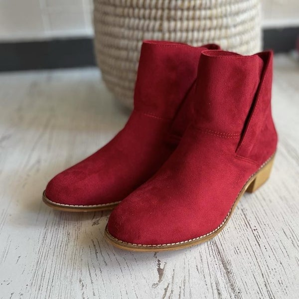 Corkys Red Suede Booties