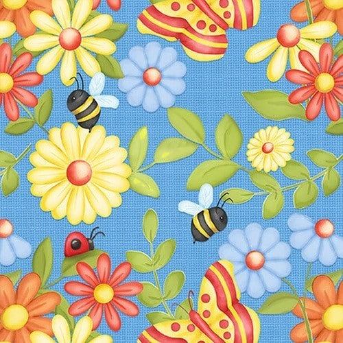 Butterflies and  Flowers blue 1 yard cut