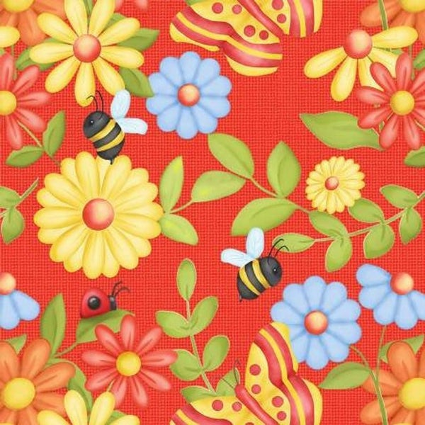 Butterflies and  Flowers red 1 yard cut
