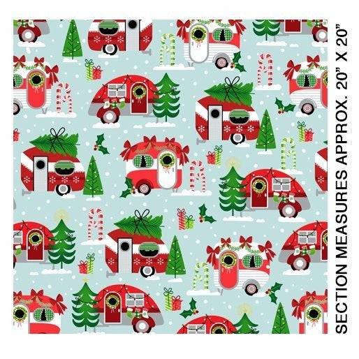 Christmas Campers 1/2 yard cut