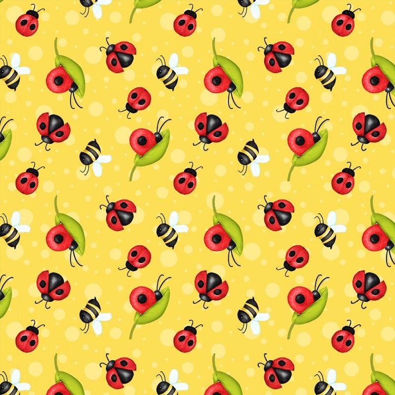 Ladybugs - yellow - 1 yard cut