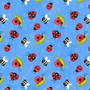 Ladybugs - blue - 1 yard cut *Final Sale*