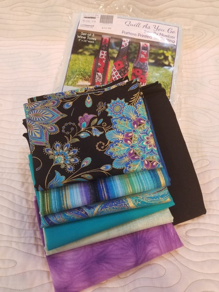 Quilt as You Go Wine Tote Kit - Black