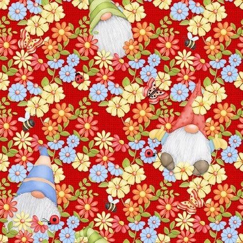Peeking Gnomes - Red - 1 yard cut