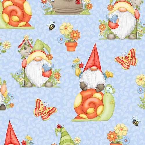 All over gnomes- Blue - 1 yard cut *Final Sale*