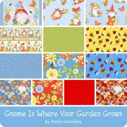 Gnome is Where Your Garden Grows: 12 Fat Quarter Bundle with Panel