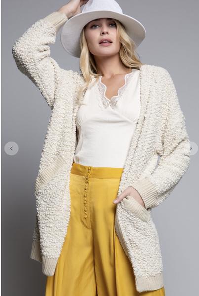 POL Alpaca Textured Cardigan Sweater in Sage, Beige or Charcoal