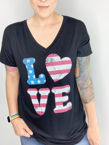 "Black American ""LOVE"" Flag Graphic Tee"