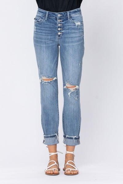 Judy Blue Hi-Rise Light Wash Button Fly Destroyed Boyfriend Jeans