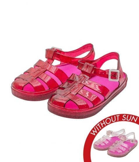 !Sol Jelly Shoes - Adventure Sandal - Clear to Pink