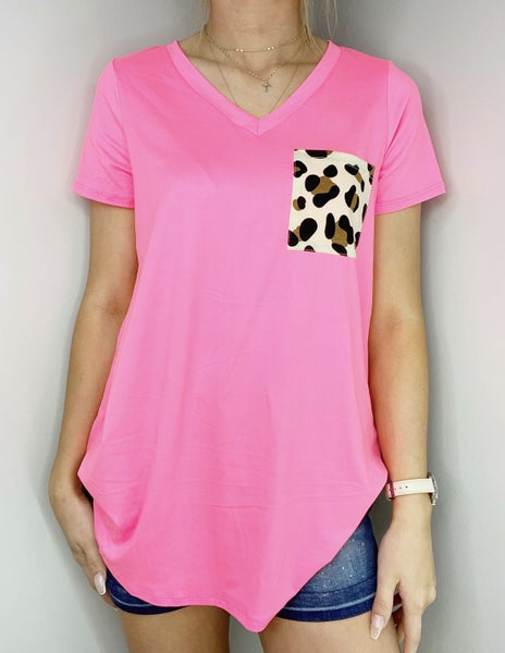 SMALL ONLY Neon Pink V-Neck Top with Leopard Pocket