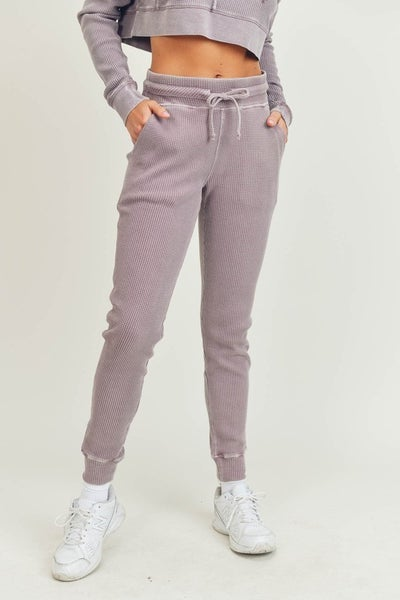 Waffled Mineral-Washed Joggers in Dusty Pink