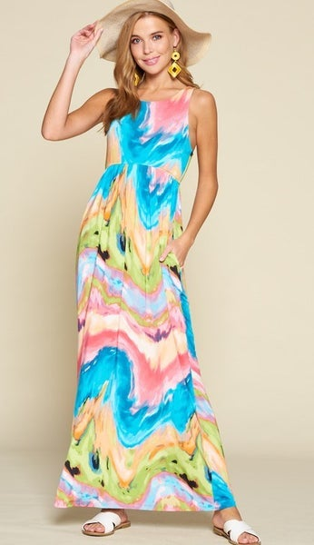Aqua and Pink Tie Dye Venechia Sleeveless Maxi Dress