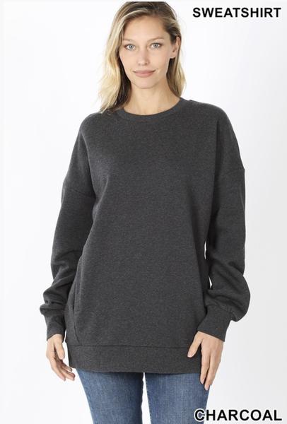Long Sleeve Sweatshirt with Side Pockets Plus ***Multiple Colors