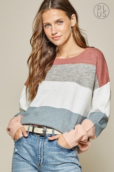 Mauve and Gray Colorblock Sweater