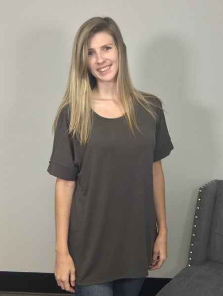 Solid Color Tunic with Cuffed Short Sleeves-Gray, Gold or Olive