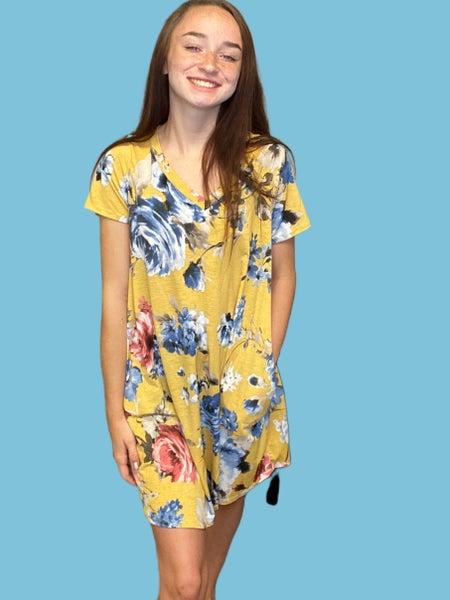 Flamingo Mustard Color Floral Dress
