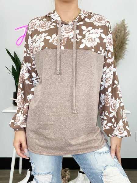 Brown and Off White Floral Hoodie