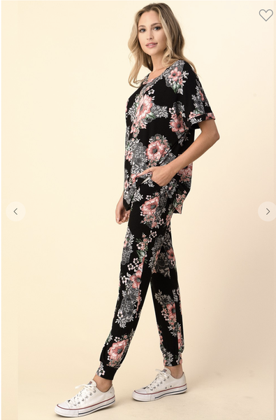 Black Floral Top with Matching Pants