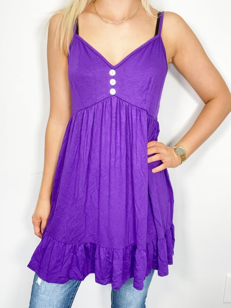 PURPLE SLEEVELESS V-NECK WITH BUTTON DETAIL TUNIC TOP/DRESS