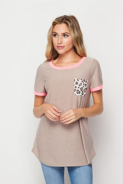 HoneyMe Gray Round Neck Top with Leopard Check Pocket and Hot Pink Trim