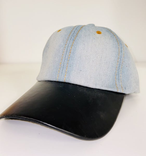 Denim Cap with Faux Leather Bill and Adjustable Strap