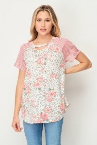 SM & MED ONLY HoneyMe Floral Top with Keyhole Detail and Striped Raglan Short Sleeves