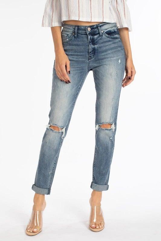 Kancan High Rise Hem Detail Classic Skinny Jeans