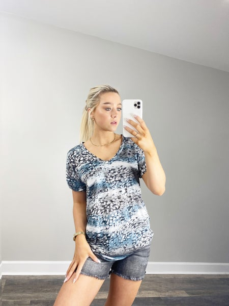 Small only - Gray and Charcoal V-Neck Top
