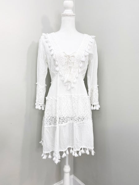 White Lace up Cotton Dress