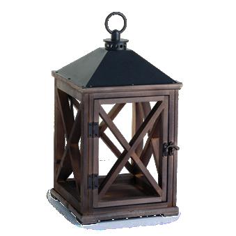 Weathered Espresso Wooden Lantern