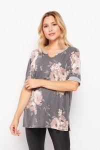 Charcoal/Mocha  Short Sleeve Floral Top