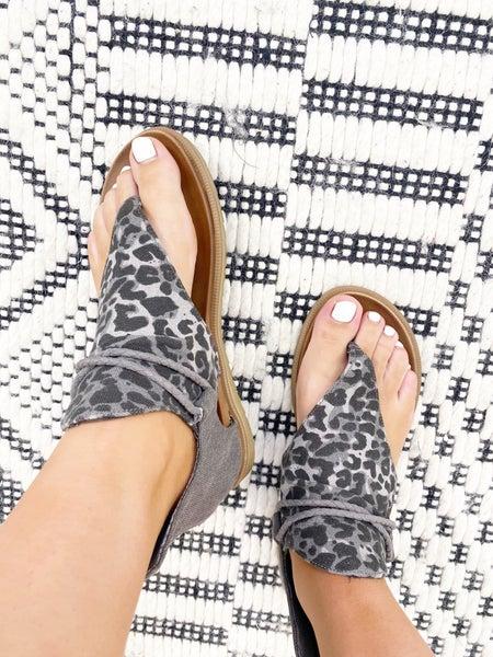 "Very G ""Angelika"" Grey Leopard Print Sparta Sandal"
