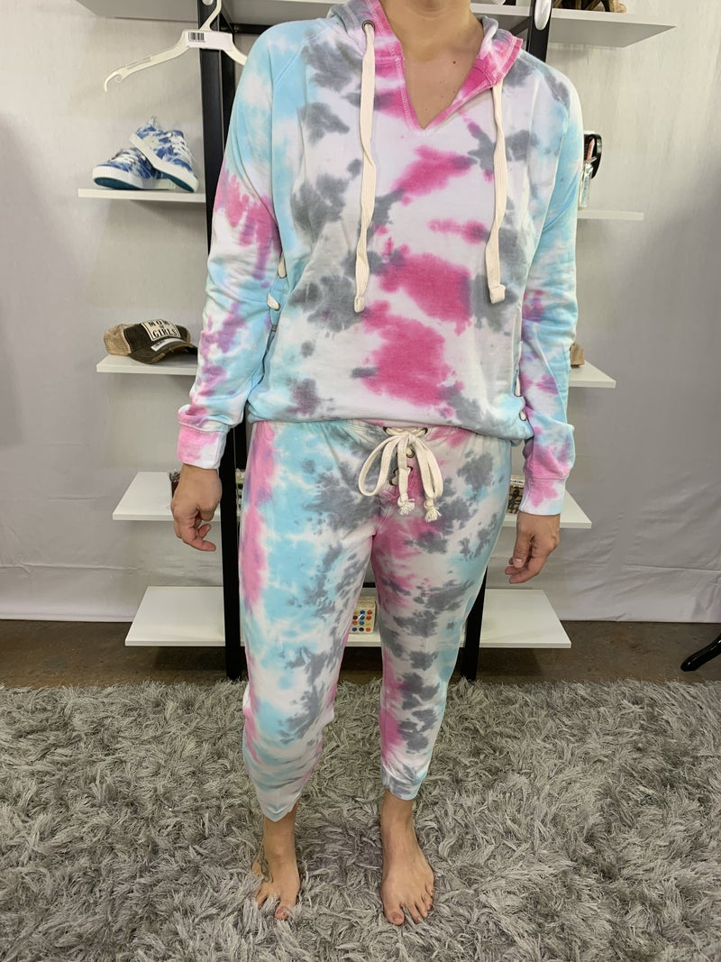 HoneyMe French Terry Tiedye Sky /Pink Joggers