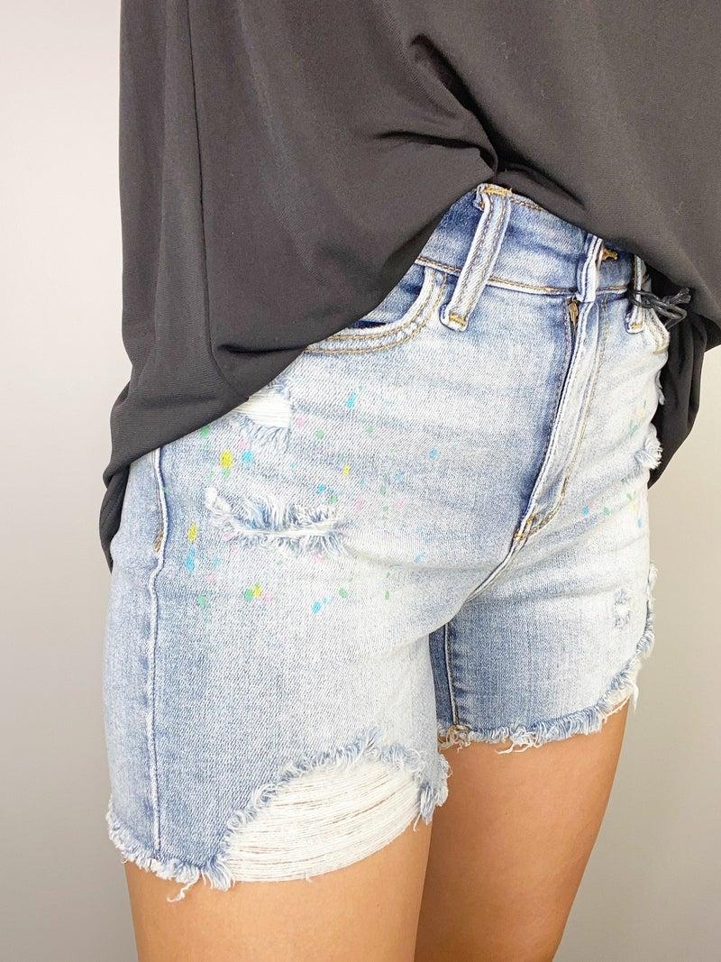 Judy Blue Rainbow Paint Splash Destroyed Shorts