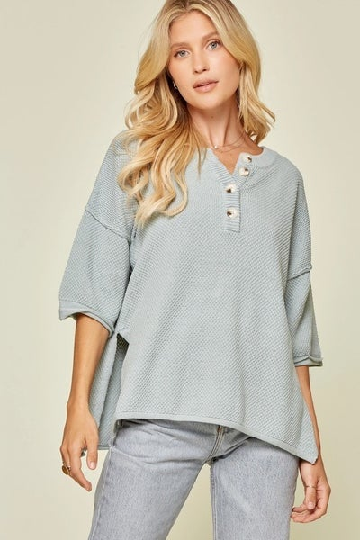 Dolman Sweater with Button Placket Front in Sage