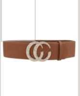 2 1/4 inch Cognac Color Belt with Rhinestone Buckle