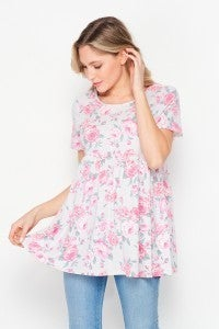 Gray and Pink Floral Babydoll Top