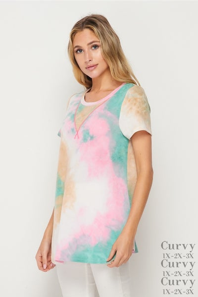 LAST ONE - HoneyMe Green and Pink Tie Dye Top