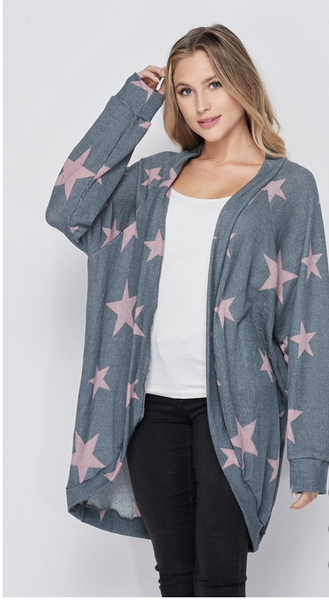 SMALL ONLY - HoneyMe Gray Cardigan with Stars