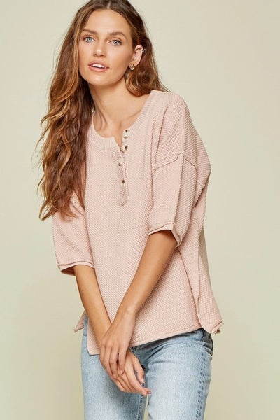 Dolman Sweater with Button Placket Front in Blush
