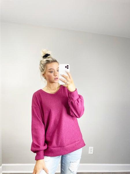 HoneyMe Magenta Wide V-Neck Cozy Pullover Tunic