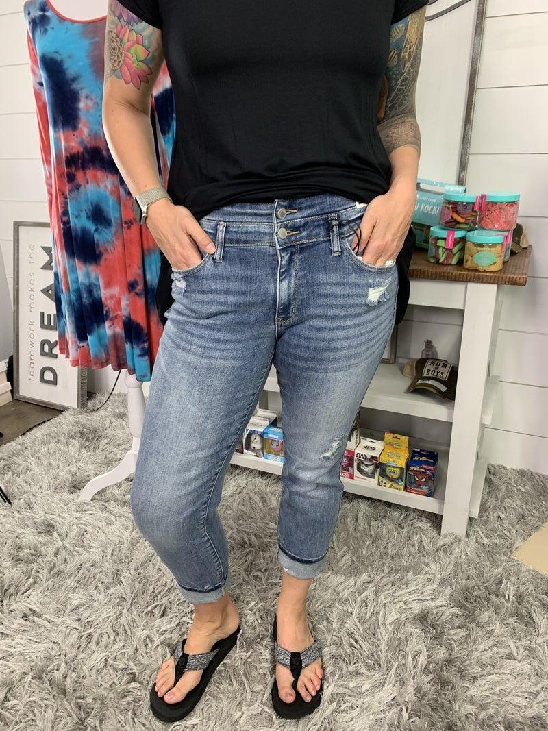 Judy Blue Double Waist Band Relaxed Fit Jeans