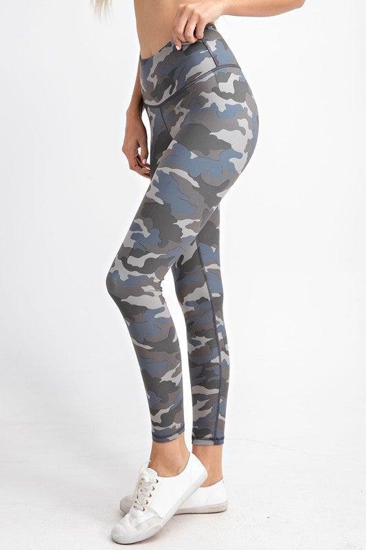 Camo Yoga Leggings in Gray Blue